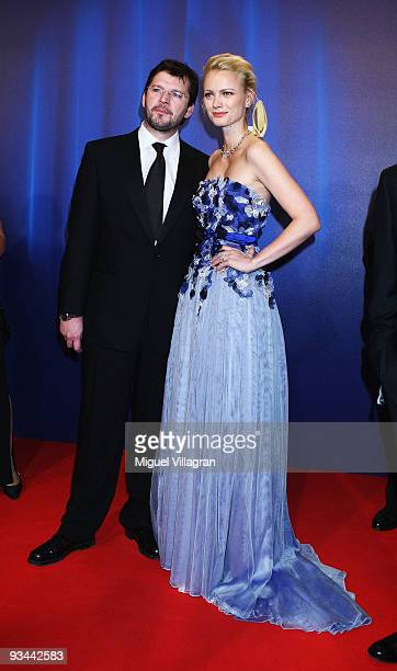 Model Franziska Knuppe and Christian Moestl arrive to the Bambi Awards 2009 at the Metropolis Hall at the Filmpark Babelsberg on November 26 2009 in...