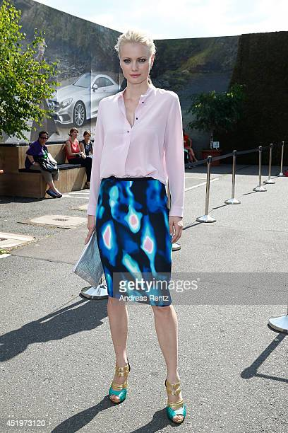 Model Franziska Knuppe attends the Marc Cain show during the MercedesBenz Fashion Week Spring/Summer 2015 at Erika Hess Eisstadion on July 10 2014 in...