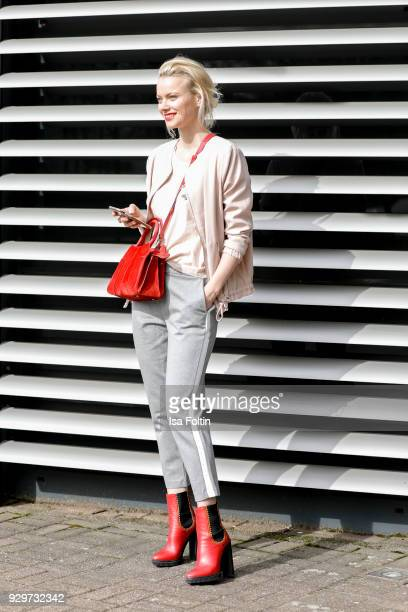 Model Franziska Knuppe during a Street Style Shooting on March 9 2018 in Duesseldorf Germany