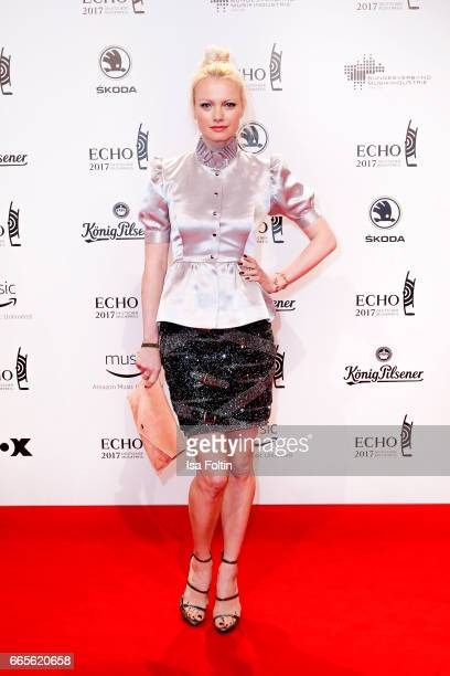 Model Franziska Knuppe during the Echo award red carpet on April 6 2017 in Berlin Germany