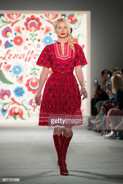 Model Franziska Knuppe runs the runwy at Lena Hoschek fashion show during the MercedesBenz Berlin Fashion Week Spring/Summer 2018 at Jandorf Kaufhaus...