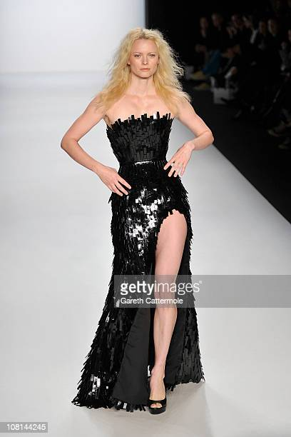 Model Franziska Knuppe walks the runway at the Lever Couture Show during the Mercedes Benz Fashion Week Autumn/Winter 2011 at Bebelplatz on January...