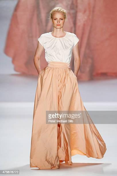 Model Franziska Knuppe walks the runway at the Minx by Eva Lutz show during the Mercedes-Benz Fashion Week Berlin Spring/Summer 2016 at Brandenburg...