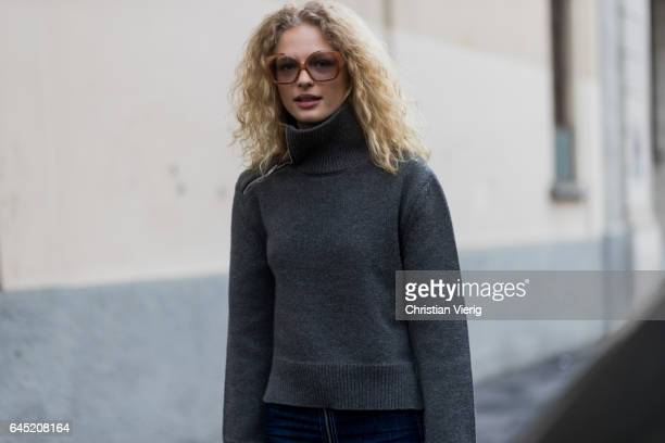 Model Frederikke Sofie outside Etro during Milan Fashion Week Fall/Winter 2017/18 on February 24 2017 in Milan Italy