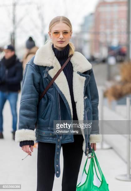 Model Frederikke Sofie outside Tory Burch on February 14 2017 in New York City