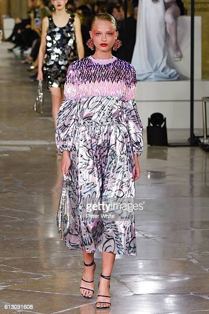 Model Frederikke Sofie walks the runway during the Kenzo show as part of the Paris Fashion Week Womenswear Spring/Summer 2017 on October 4 2016 in...