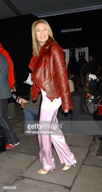 Model Frederique arrives at the Luca Luca fashion show at Bryant Park during the Olympus 2004 Fall Fashion Show February 8 2004 in New York City