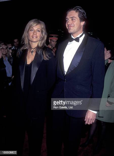 Model Frederique van der Wal and guest attend the Launch of Cartier's Tank Francaise Watch on May 8 1996 at Former B Altman Department Store Building...