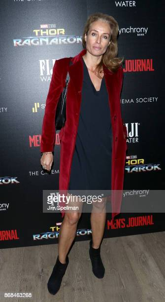 Model Frederique van der Wal attends the screening of Marvel Studios' 'Thor Ragnarok' hosted by The Cinema Society with FIJI Water Men's Journal and...
