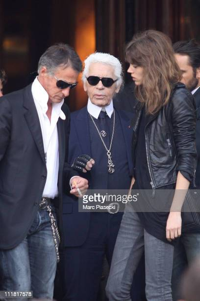Model Freja Beha Erichsen and designer Karl Lagerfeld during the last day of Karl Lagerfeld's Chanel shooting 'le conte d'une fee' at Monte Carlo on...