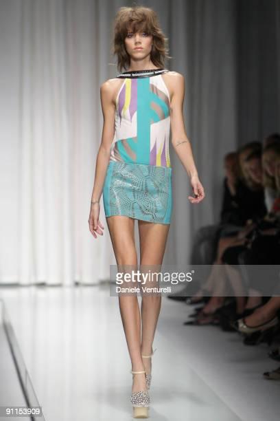 Model Freja Beha Erichsen walks down the runway during the Versace show as part of Milan Womenswear Fashion Week Spring/Summer 2010 on September 25...