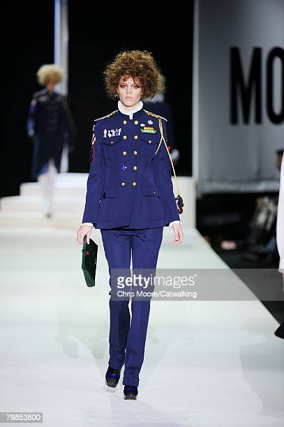 Model Freja Beha Erichsen walks the runway wearing the Moschino Fall/Winter 2008/2009 collection during Milan Fashion Week on the 19th of February...