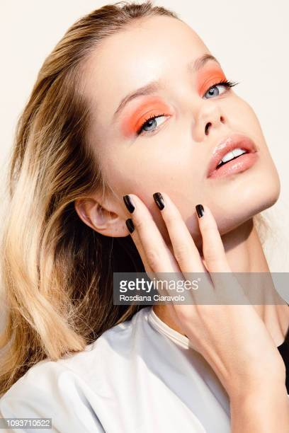 Model Frida Aasen is seen backstage ahead of the John Richmond show during Milan Menswear Fashion Week Autumn/Winter 2019/20 on January 13 2019 in...