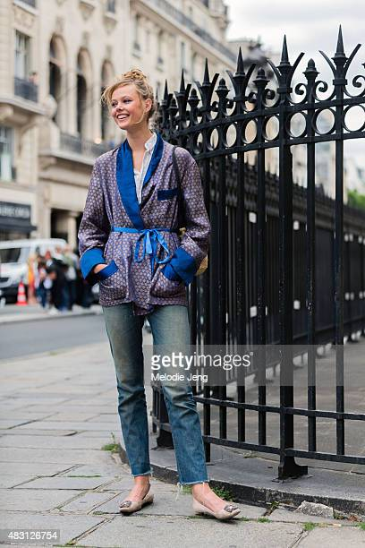 Model Frida Gustavsson after the Jean Paul Gaultier show on July 8 2015 in Paris France
