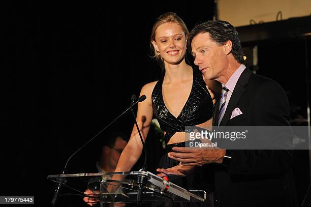 Model Frida Gustavsson and The Daily President and Publisher Paul Turcotte appear onstage at The Daily Front Row's Fashion Media Awards at Harlow on...