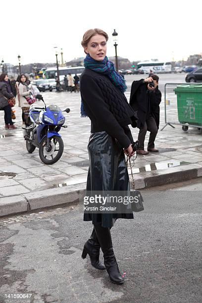 Model Frida Gustavsson at Paris Fashion Week Autumn/Winter 2012 womenswear shows on March 6 2012 in Paris France