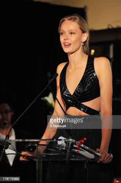Model Frida Gustavsson speaks onstage at The Daily Front Row's Fashion Media Awards at Harlow on September 6 2013 in New York City
