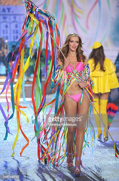 Model Frida Gustavsson walks the runway during the 2012 Victoria's Secret Fashion Show at the Lexington Avenue Armory on November 7 2012 in New York...