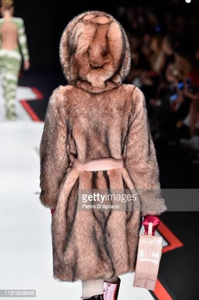 Model, fur detail, walks the runway at the Elisabetta Franchi show at Milan Fashion Week Autumn/Winter 2019/20 on February 23, 2019 in Milan, Italy.