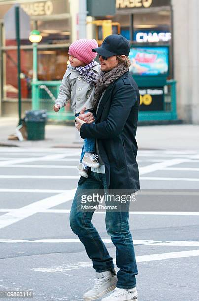 Model Gabriel Aubry and daughter Nahla Aubry are seen on the Streets of Manhattan on March 8 2011 in New York City