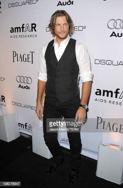 Model Gabriel Aubry arrives at the amfAR Inspiration Gala celebrating men's style with Piaget and DSquared 2 at Chateau Marmont on October 27 2010 in...