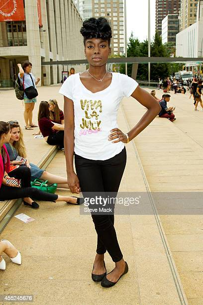 Model Gabrielle McLeggan is seen around Lincoln Center wearing a Juicy Couture shirt Gap pants and Steve Madden shoes on September 10 2014 in New...