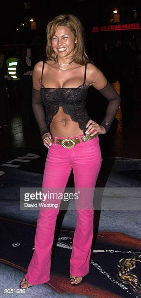 Model Gabrielle Richens arrives at the for the premiere of Ali G's new film 'Indahouse' at the Empire Leicester Square London on March 20 2002