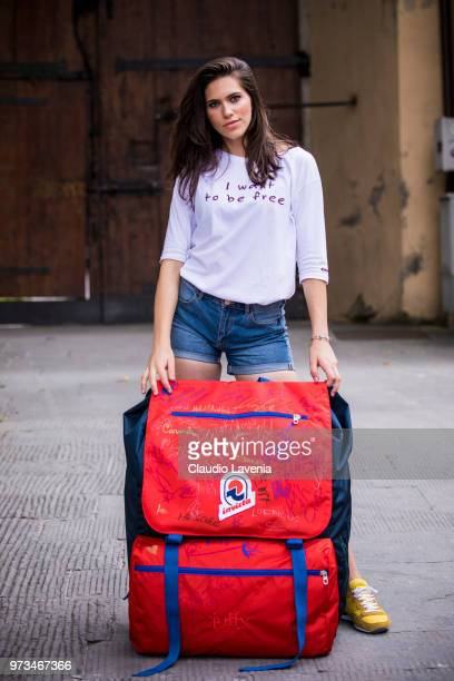 Model Gaia Gattavecchi wearing Invicta backpack is seen during the 94th Pitti Immagine Uomo at Fortezza Da Basso on June 13 2018 in Florence Italy