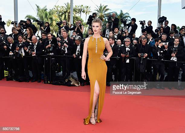 Model Gaia Weiss attends the 'Cafe Society' premiere and the Opening Night Gala during the 69th annual Cannes Film Festival at the Palais des...