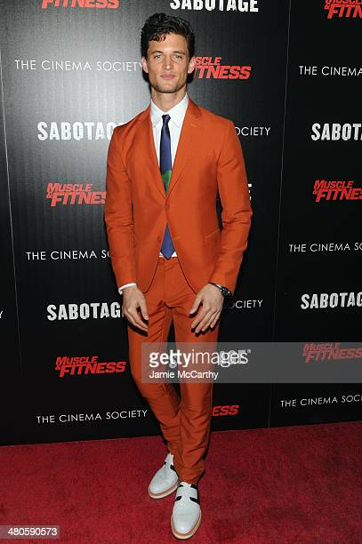 Model Garrett Neff attends The Cinema Society with Muscle Fitness screening of Open Road Films' Sabotage at AMC Loews Lincoln Square on March 25 2014...