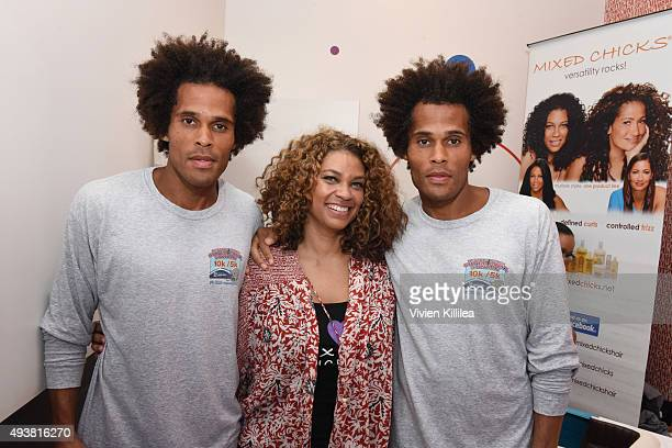 Model Garry Clemmons cofounder of Mixed Chicks Kim Etheredge and model Jason Clemmons attend the Mixed Me Book Launch Multiculti Mixer on October 22...