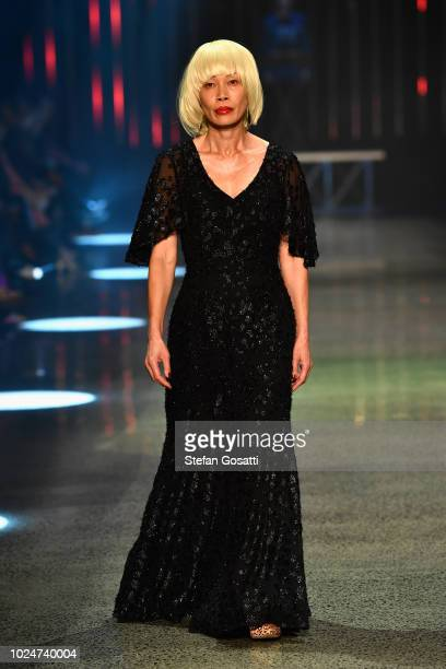 Model Geeling Ng walks the runway during the Hailwood show during New Zealand Fashion Week 2018 at Viaduct Events Centre on August 28 2018 in...