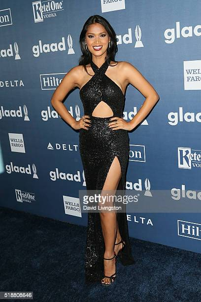 Model Geena Rocero arrives at the 27th Annual GLAAD Media Awards at The Beverly Hilton Hotel on April 2 2016 in Beverly Hills California