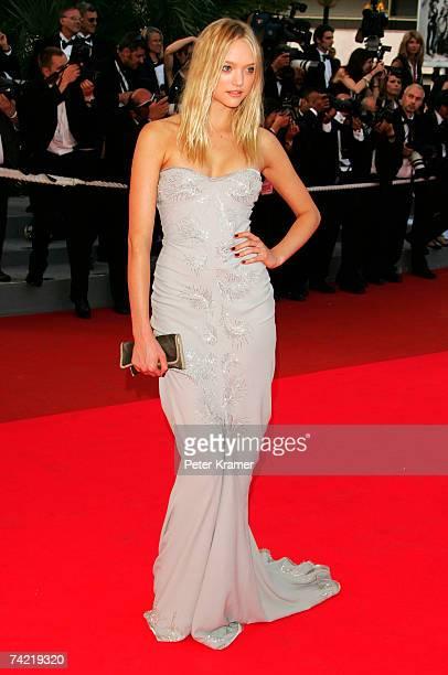 "Model Gemma Ward attends a premiere promoting the film ""Le Scaphandre Et Le Papillon"" at the Palais des Festivals during the 60th International..."