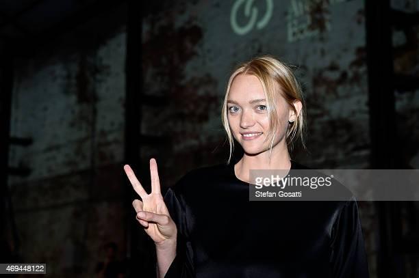 Model Gemma Ward attends MercedesBenz Fashion Week Australia 2015 at Carriageworks on April 12 2015 in Sydney Australia