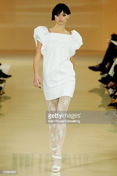 A model Gemma Ward walks down the catwalk during the Karl Lagerfeld Fashion Show as part of Paris Fashion Week Spring/Summer 2007 on October 4 2006...