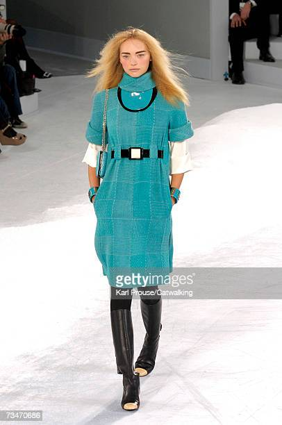 Model Gemma Ward walks the catwalk during the Chanel fashion show as part of Paris Fashion Week Autumn/Winter 2008 on March 2 2007 in Paris France