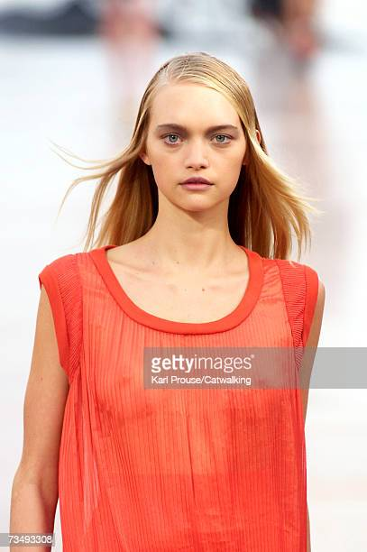 Model Gemma Ward walks the catwalk during the Chloe fashion show as part of Paris Fashion Week Autumn/Winter 2008 on March 3 2007 in Paris France
