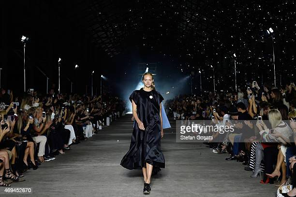 Model Gemma Ward walks the runway at the MercedesBenz Presents Ellery show at MercedesBenz Fashion Week Australia 2015 at Carriageworks on April 12...