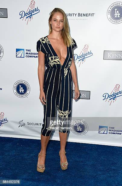 Model Genevieve Morton arrives at the Los Angeles Dodgers Foundation Blue Diamond Gala at Dodger Stadium on July 28 2016 in Los Angeles California