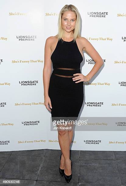 Model Genevieve Morton arrives at the Los Angeles Premiere She's Funny That Way at Harmony Gold on August 19 2015 in Los Angeles California