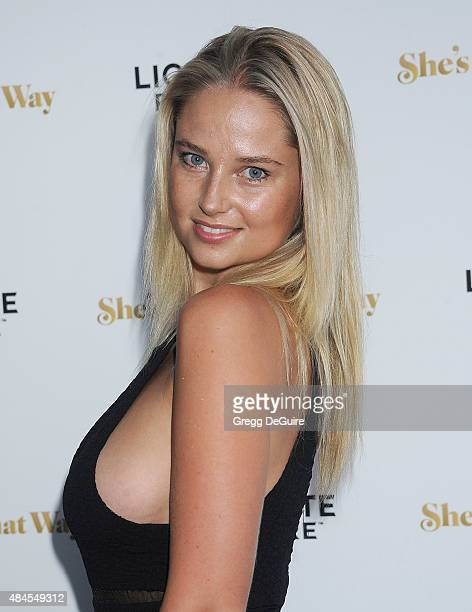 Model Genevieve Morton arrives at the premiere of Lionsgate's She's Funny That Way at Harmony Gold on August 19 2015 in Los Angeles California