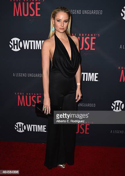 Model Genevieve Morton attends the premiere of Showtime's Kobe Bryant's Muse at The London Hotel on February 26 2015 in West Hollywood California