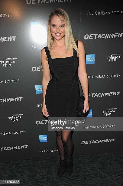 Model Genevieve Morton attends the premiere of Tribeca Film's Detachment hosted by American Express the Cinema Society at Landmark Sunshine Cinema on...