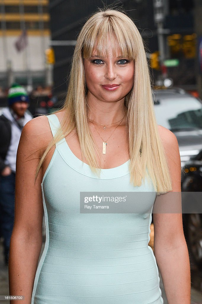 Model Genevieve Morton enters the 'Late Show With David Letterman' taping at the Ed Sullivan Theater on February 11, 2013 in New York City.
