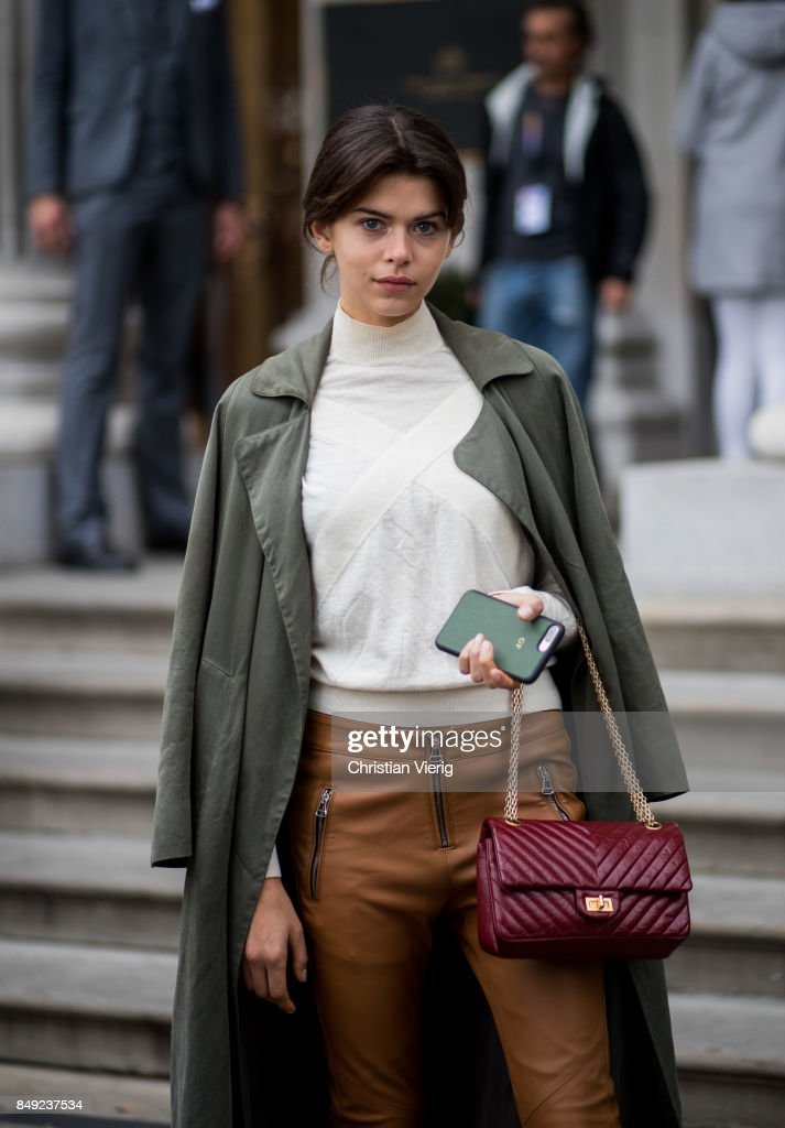 Model Georgia Fowler outside Emilia Wickstead during London Fashion Week September 2017 on September 18, 2017 in London, England.