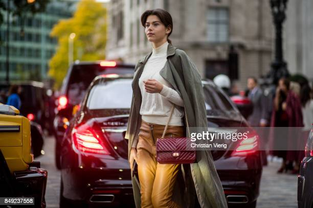 Model Georgia Fowler outside Emilia Wickstead during London Fashion Week September 2017 on September 18 2017 in London England