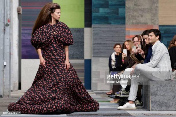Model Georgia Fowler walks the runway during the Jordan Dalah show during Afterpay Australian Fashion Week 2021 Resort '22 Collections at...