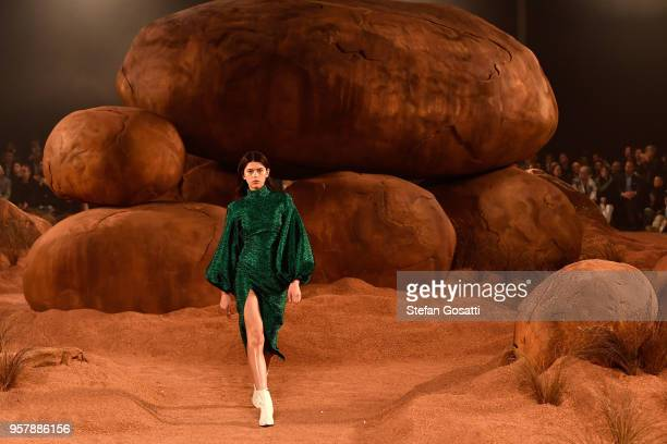 Model Georgia Fowler walks the runway during the MercedesBenz Presents Camilla And Marc show at MercedesBenz Fashion Week Resort 19 Collections at...