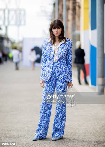 Model Georgia Fowler wearing a blue suit pearl jacket during MercedesBenz Fashion Week Resort 19 Collections at Carriageworks on May 14 2018 in...